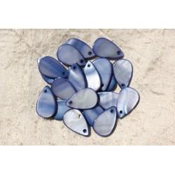 10pc - Perles Breloques Pendentifs Nacre Gouttes 20x12mm Bleu 4558550019622