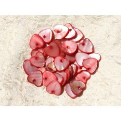 10pc - Perles Breloques Pendentifs Nacre Coeurs 11mm Rouge Rose 4558550019707