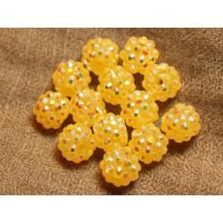 5pc - Perles Shamballas Résine 12x10mm Jaune transparent 4558550019813