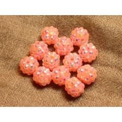 5pc - Perles Shamballas Résine 12x10mm Rose Saumon 4558550019851