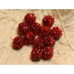 5pc - Perles Shamballas Résine 12x10mm Rouge 4558550019868