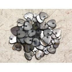 10pc - Perles Breloques Pendentifs Nacre Coeurs 11mm Gris Noir 4558550019875