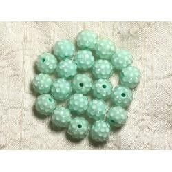 5pc - Perles Shamballas Résine 12x10mm Vert Turquoise et transparent 4558550009425