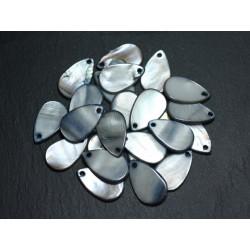 10pc - Perles Breloques Pendentifs Nacre Gouttes 19mm Gris Noir 4558550020024