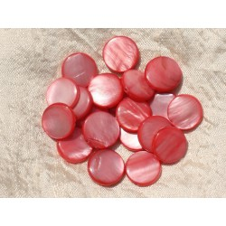 10pc - Perles Nacre Palets 15mm Rose Corail Pêche 4558550020048