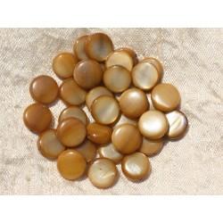 20pc - Perles Nacre Palets 10mm Marron Bronze Doré 4558550020147