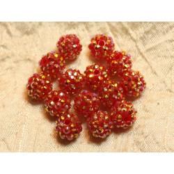 5pc - Perles Shamballas Résine 12x10mm Rouge Orange 4558550020246