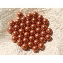 10pc - Perles Nacre Rose Orange Boules 8mm 4558550020253