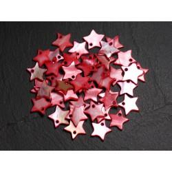 10pc - Breloques Pendentifs Nacre Etoiles Rouges et Roses 12mm 4558550020277