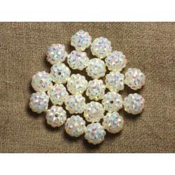 5pc - Perles Shamballas Résine 12x10mm Blanc et Multicolore 4558550009357