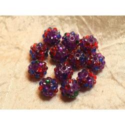 5pc - Perles Shamballas Résine 12x10mm Violet et Multicolore 4558550020390