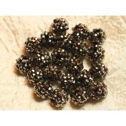 5pc - Perles Shamballas Résine 12x10mm Noir et Argenté 4558550020420