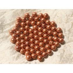 10pc - Perles Nacre Rose Orange Boules 6mm 4558550020581