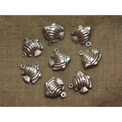 4pc - Breloques Pendentifs Métal Argenté Rhodium Poissons 18mm 4558550020604