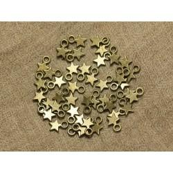40pc - Perles Breloques Etoiles Métal Bronze 10mm 4558550020635