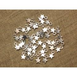 40pc - Perles Breloques Etoiles Métal Argenté 10mm 4558550020666