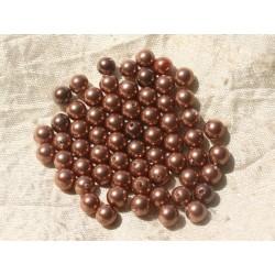 10pc - Perles Nacre Cuivre Boules 6mm 4558550020758