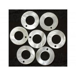 10pc - Breloques Pendentifs Nacre Blanche Cercles 25mm 4558550020864