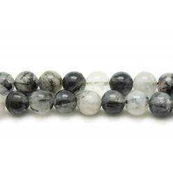 2pc - Perles de Pierre - Quartz Tourmaline Boules 10mm 4558550020963
