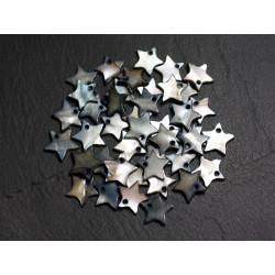 10pc - Perles Breloques Pendentifs Nacre Etoiles 12mm Gris Noir - 4558550020994