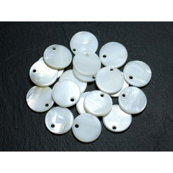 10pc - Perles Breloques Nacre Blanche Ronds 15mm 4558550021052
