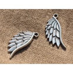 4pc - Perles Breloques Pendentifs Métal Argenté Ailes 30mm 4558550005571