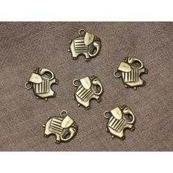 10pc - Breloques Pendentifs Métal Bronze Elephant 19mm 4558550021212