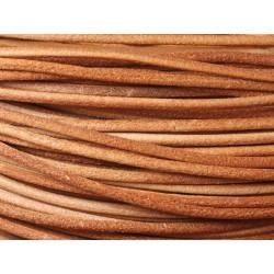 4 mètres - Cordon Cuir Véritable Beige Rond 3mm - 4558550021274