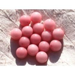 4pc - Perles de Pierre - Jade Boules 14mm Rose Pêche Corail 4558550014535