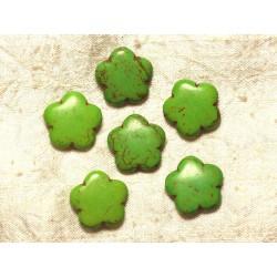 5pc - Perles Turquoise synthèse Fleurs 20mm Vert 4558550021625