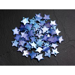 10pc - Perles Breloques Pendentifs Nacre Bleue Etoiles 12mm 4558550021632