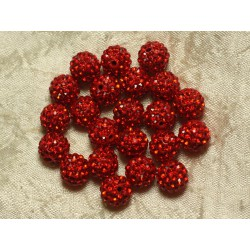 10pc - Perle Polymère et Strass Verre 8mm Rouge 4558550021885