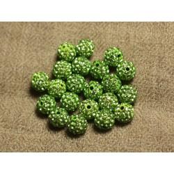 10pc - Perle Polymère et Strass Verre 8mm Vert clair 4558550022813