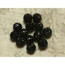 4pc - Perle Polymère et Strass Verre 8mm Noir 4558550022226