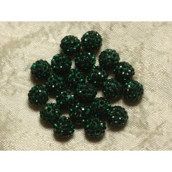 10pc - Perle Polymère et Strass Verre 10mm Vert Sapin 4558550022929