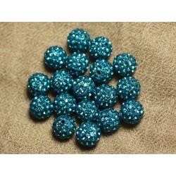 10pc - Perle Polymère et Strass Verre 10mm Bleu Vert 4558550022608