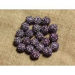 10pc - Perle Polymère et Strass Verre 8mm Violet et Mauve 4558550022721