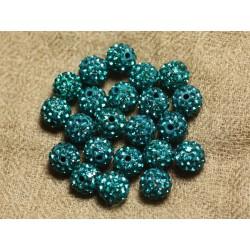 10pc - Perle Polymère et Strass Verre 8mm Bleu Vert 4558550022790