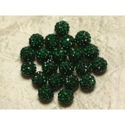 10pc - Perle Polymère et Strass Verre 8mm Vert 4558550022035
