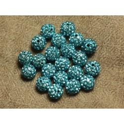 10pc - Perle Polymère et Strass Verre 8mm Bleu clair 4558550022875