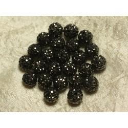 10pc - Perle Polymère et Strass Verre 10mm Noir et Argenté 4558550022851