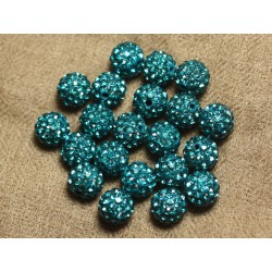 10pc - Perle Polymère et Strass Verre 8mm Bleu vert 4558550022837