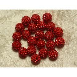 10pc - Perle Polymère et Strass Verre 10mm Rouge 4558550022905