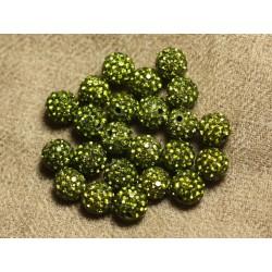 10pc - Perle Polymère et Strass Verre 10mm Vert Olive 4558550022936