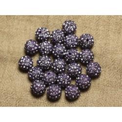8pc - Perle Polymère et Strass Verre 10mm Violet et Mauve 4558550023018