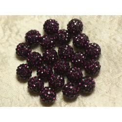 10pc - Perle Polymère et Strass Verre 10mm Violet 4558550023032