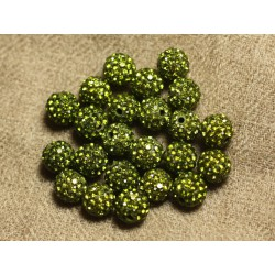10pc - Perle Polymère et Strass Verre 8mm Vert Olive 4558550023124