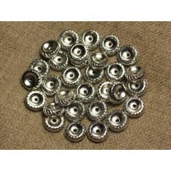 10pc - Perles Métal Argenté Rhodium Rondelles 10x3mm 4558550023308