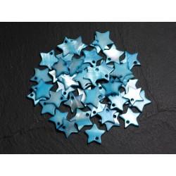 10pc - Perles Breloques Pendentifs Nacre Etoiles Bleu 12-13mm - 4558550023384