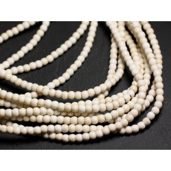 40pc - Perles Turquoise Synthèse Boules 4mm Blanc Crème 4558550023414